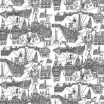 Schumacher Views Of Paris Black On White Fabric