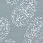 Phillip Jeffries Batik Chic White On Silver Blue Manila Hemp Wallpaper