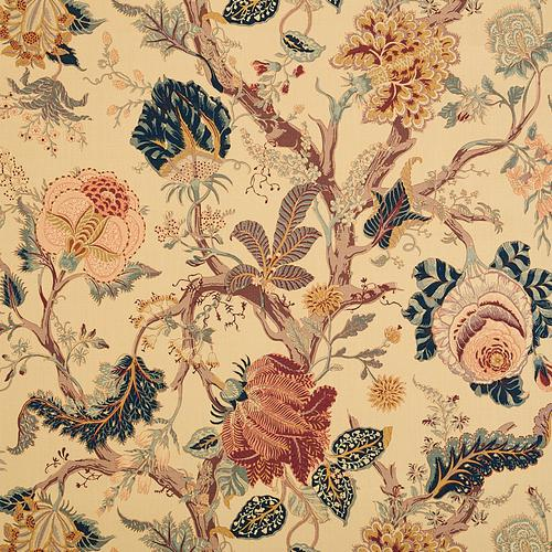 Schumacher Indian Arbre Tea Fabric - Fabric