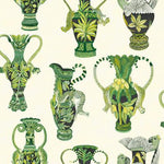 Cole & Son Khulu Vases Green & White Wallpaper