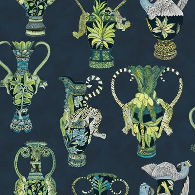Cole & Son Khulu Vases Midnight Wallpaper - Wallpaper