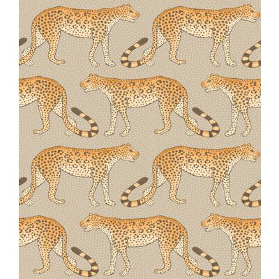 Cole & Son Leopard Walk Stone & Orange Wallpaper - Wallpaper