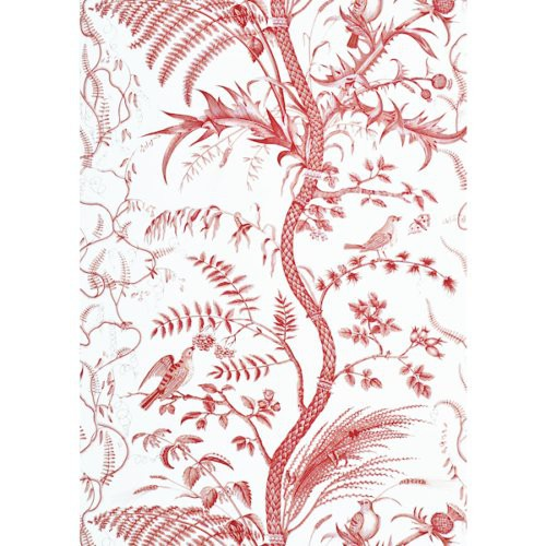 Brunschwig & Fils Bird And Thistle Red Wallpaper - Wallpaper