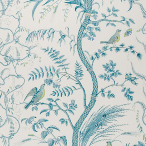 Brunschwig & Fils Bird And Thistle Aqua Wallpaper - Wallpaper
