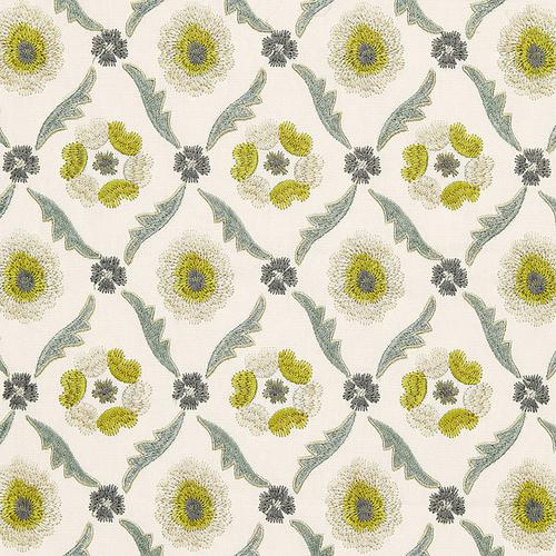 Schumacher Claremont Embroidery Chartreuse Fabric - Fabric