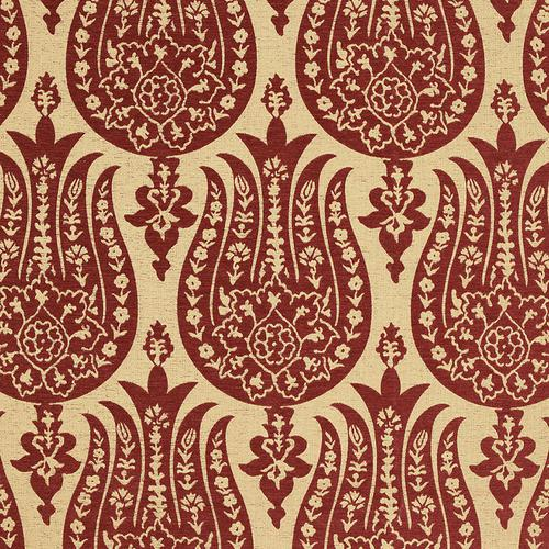 Schumacher Izmir Chenille Red Earth Fabric - Fabric