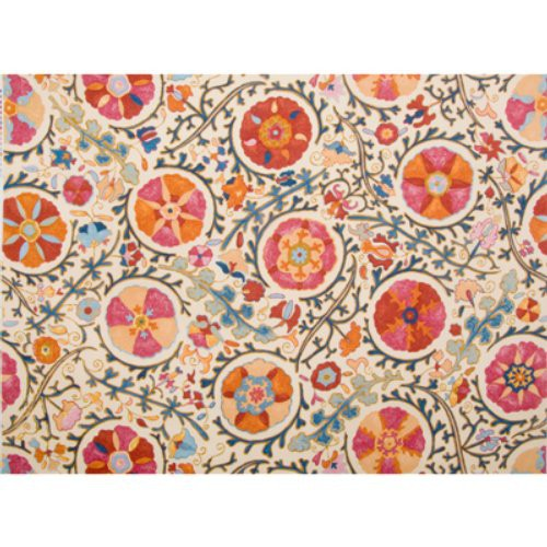 Brunschwig & Fils Dzhambul Cotton And Linen Print Raspberry Orange Fabric - Fabric