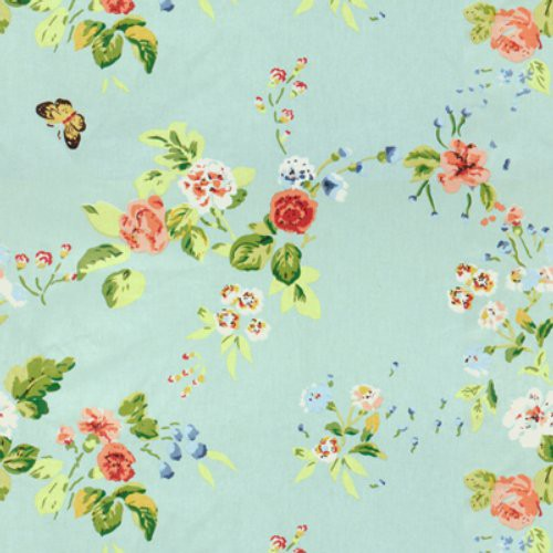 Brunschwig & Fils Chinese Flowers Glazed Chintz P Ink On Blue Fabric - Fabric