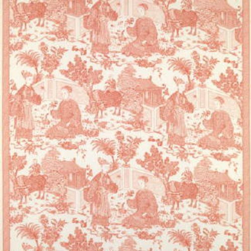 Brunschwig & Fils Cathay Toile Cotton Print Coral Fabric - Fabric