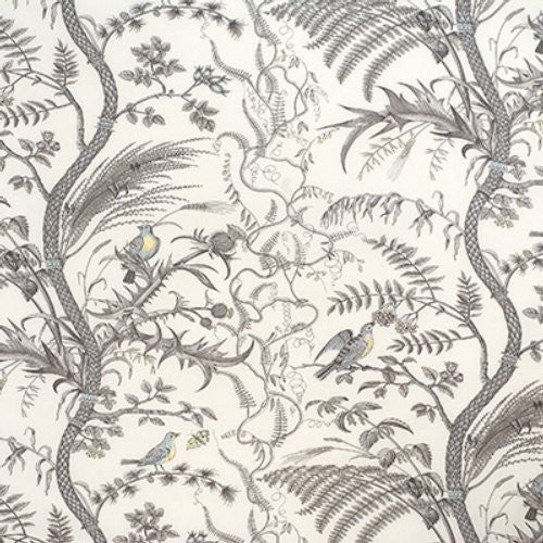 Brunschwig & Fils Bird And Thistle Cotton Print Gray Fabric - Fabric