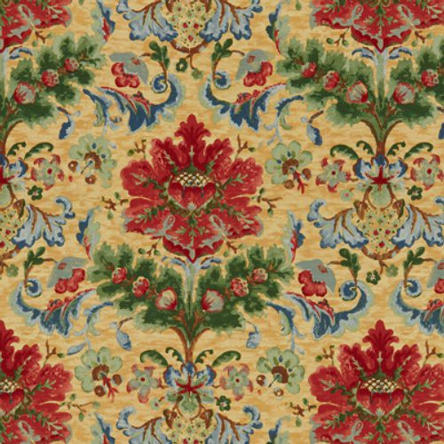Brunschwig & Fils Windsor Damask Cotton & Linen Print Red On Topaz Fabric - Fabric