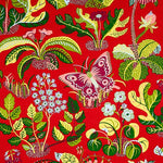 Schumacher Exotic Butterfly Red Fabric