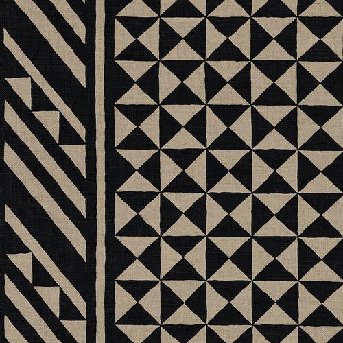 Schumacher Nuba Black On Natural Fabric - Fabric
