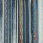Mulberry Festival Stripe Embroidery Indigo Fabric