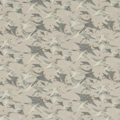 Mulberry Wild Geese Linen Goose Grey Fabric - Fabric