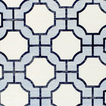 Phillip Jeffries Imperial Gates Periwinkle And Navy On White Manila Hemp Wallpaper