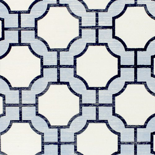 Phillip Jeffries Imperial Gates Periwinkle And Navy On White Manila Hemp Wallpaper - Wallpaper