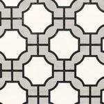 Phillip Jeffries Imperial Gates Grey And Black On White Manila Hemp Wallpaper
