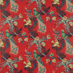 Schumacher Peacock Red Fabric