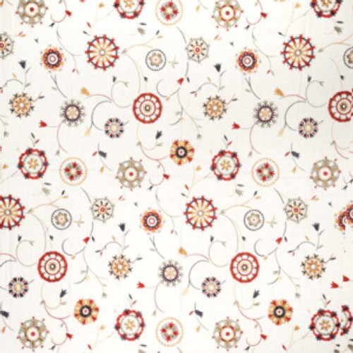 Fabricut Suzani Embroidery White & Bright Fabric - Fabric