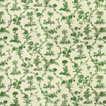 Brunschwig & Fils West Indies Toile Cotton Print Green On White Fabric