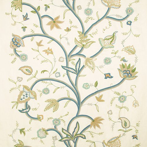 Lee Jofa Cathay Cream/Lagoon Fabric - Fabric