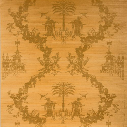 Brunschwig & Fils Chiri On Jute & Cotton Gold On Natural Wallpaper - Wallpaper