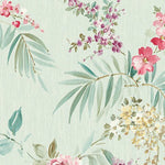 Scalamandre Providence Turquoise/Pink Wallpaper