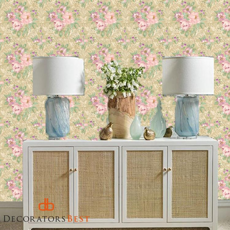Scalamandre Painted Flowers Damask Pink Gold Wallpaper ...