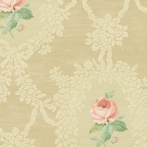 Scalamandre Cameo Rose Light Gold Wallpaper - Wallpaper