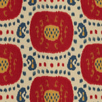 Brunschwig & Fils Samarkand Cotton And Linen Print Pompeian Red/Oxford Blue Fabric