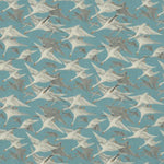 Mulberry Wild Geese Linen Teal Fabric