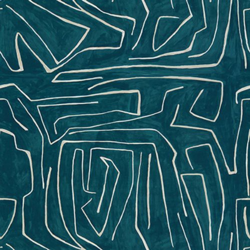Groundworks Graffito Teal/Pearl Fabric - Fabric