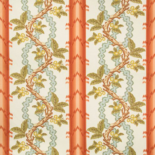 Brunschwig & Fils Josselin Cotton And Linen Print Spice/Celadon Fabric - Fabric