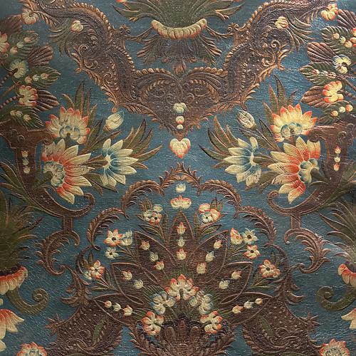 Old World Weavers Cuir Luxembourg Blue Fabric - Fabric