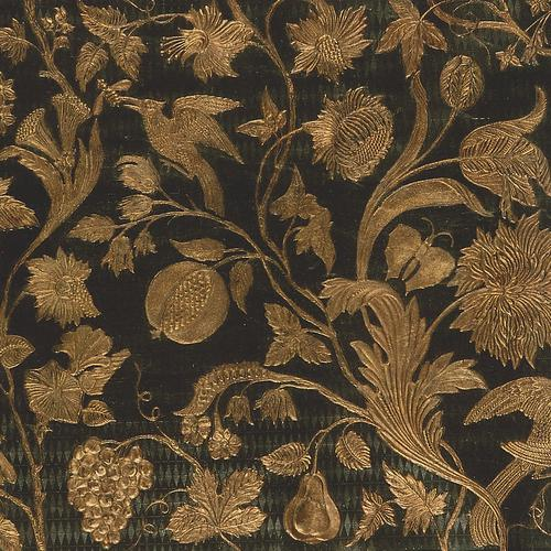Old World Weavers Cuir Eden Green/Gold Fabric - Fabric