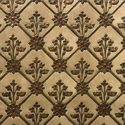 Old World Weavers Cuir Resille White/Gold Fabric - Fabric