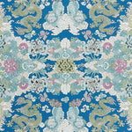 Schumacher Magic Mountain Dragon Blue Fabric