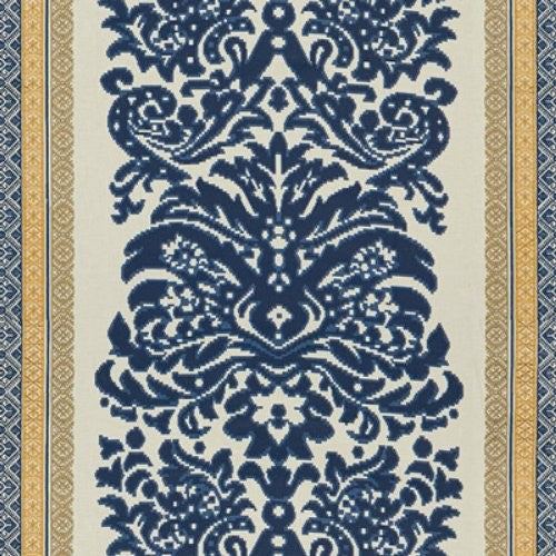 Lee Jofa Garnier Damask Navy/Gold Fabric - Fabric