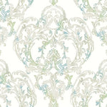 Seabrook Roxen Damask Turquoise, Off-White, And Mint Wallpaper