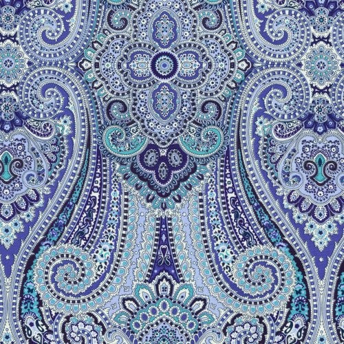 Waverly Paisley Pizzazz Delft Fabric - Fabric