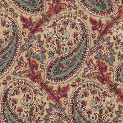 Williamsburg Plumtree Paisley/ Currant Fabric - Fabric
