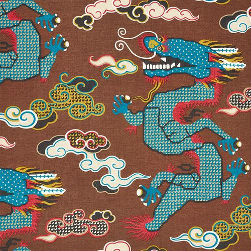 Schumacher Magical Ming Dragon Brown Fabric - Fabric