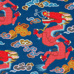 Schumacher Magical Ming Dragon Navy Fabric
