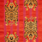 Schumacher Jokhang Tiger Velvet Red & Pink Fabric