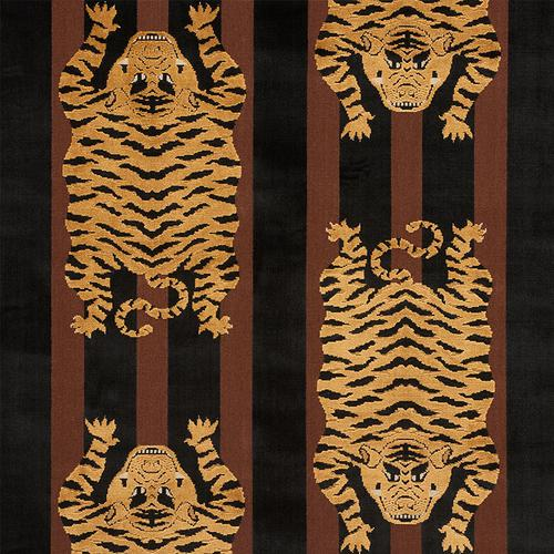 Schumacher Jokhang Tiger Velvet Brown & Black Fabric - Fabric
