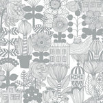 Marimekko Lintukoto Gray And Off-White Wallpaper