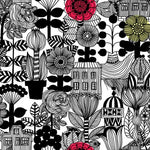 Marimekko Lintukoto Ebony And Off-White Wallpaper