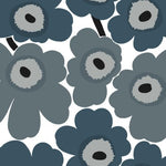 Marimekko Unikko Steel Blue And Gray Wallpaper