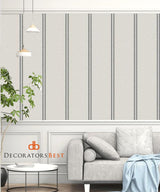 Winfield Thybony Ticking Stripe Charcoal Wallpaper